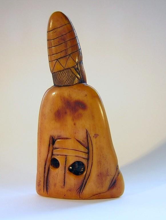 Netsuke 1094 Japanisches Katabori Netsuke 形彫  Manzai Tänzer unsigniert Edo1780  EUR 860,00