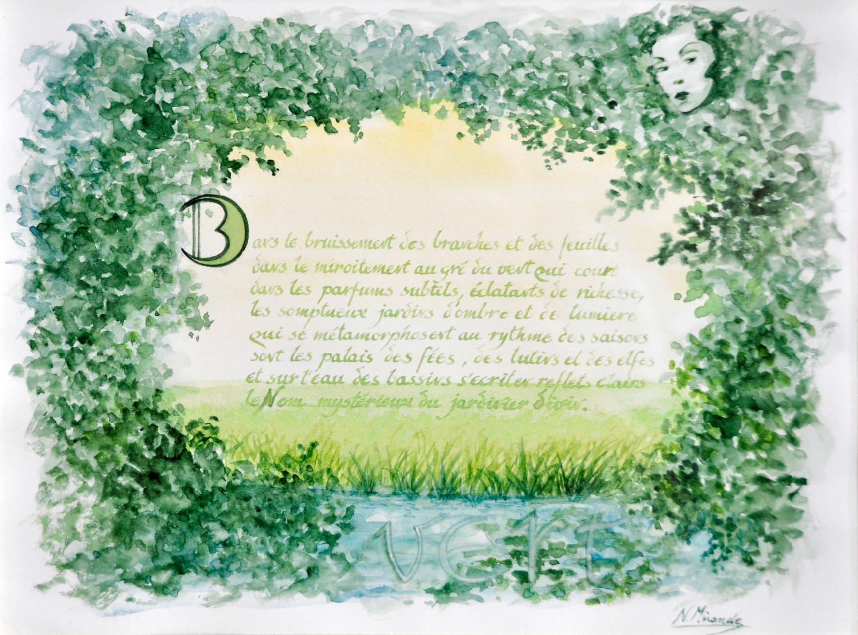 VERT- poème de Noëlle (encre)