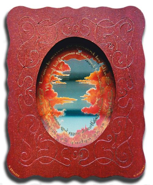 LE MIROIR DES LUTINS - extrait de poème de F. Brousse (peinture sur verre et miroir, bois incrusté de fils de cuivre, acrylique)