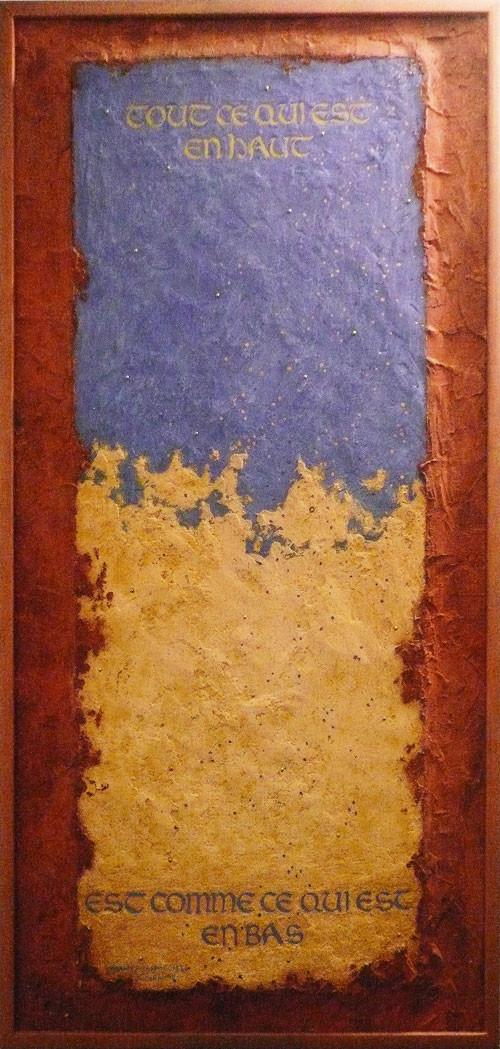 TOUT CE QUI EST - citation d'Hermès Trsmégiste (enduit teinté aux pigments, clous sur bois)