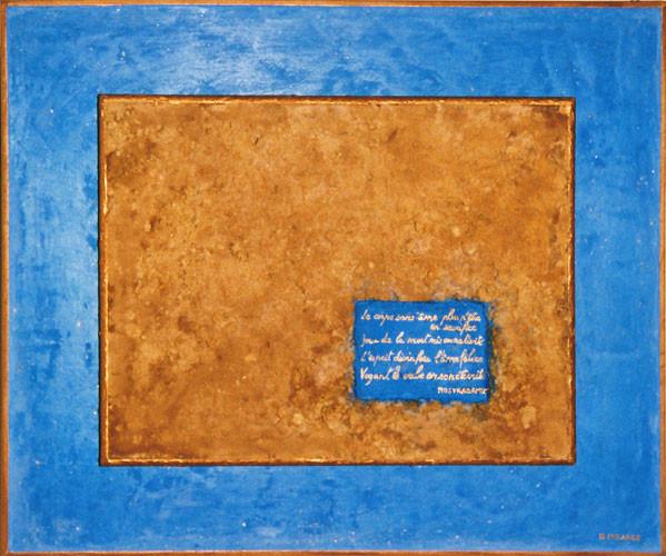 L'ÂME FELICE - quatrain de Nostradamus (enduit granuleux et stuqué teintés au pigments, sur bois, acrylique)