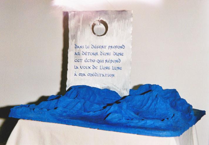 LUNE LUNE- poème de Noëlle (acrylique sur métal et terre cuite)