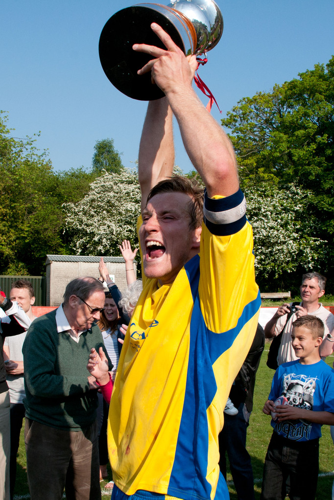 Captain Dave Cook lifts the Kent League Championship 2010-11