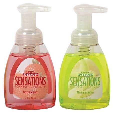 Мыло Sensations - Мгновенно переходит из жидкого состояния в пену одним нажатием насоса Емкость используется в два раза дольше обычного жидкого мыла