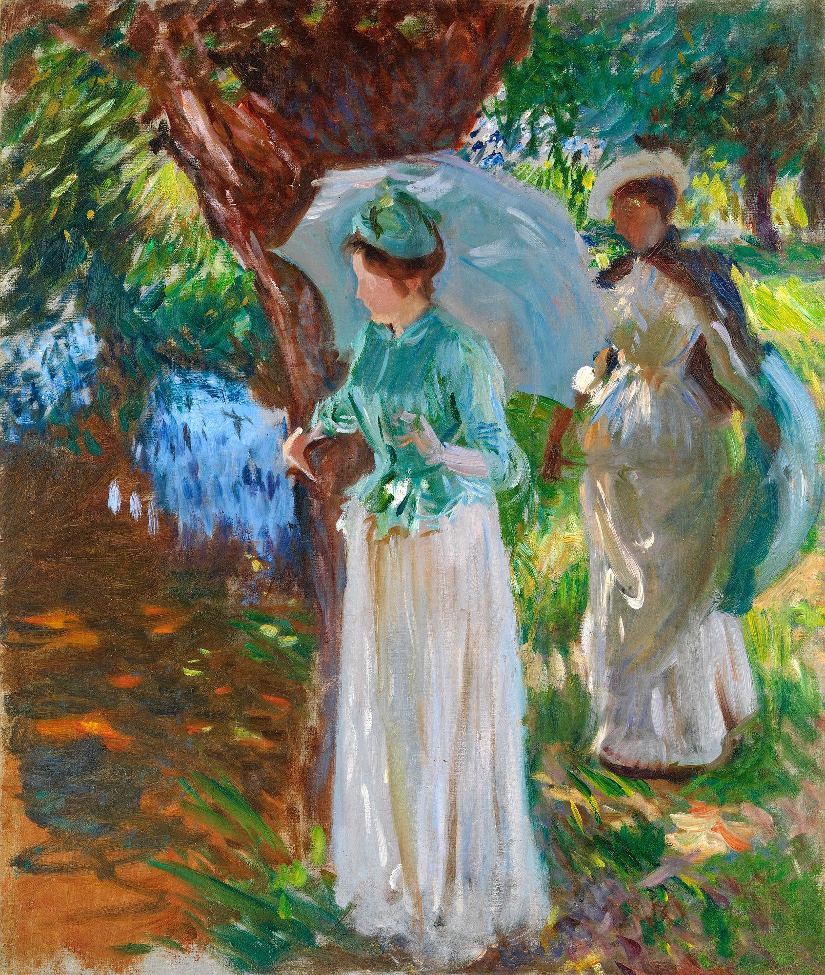 Две девушки с зонтиками