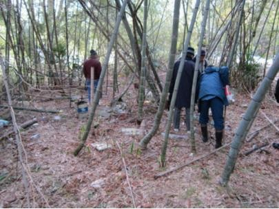 まずは不法投棄のごみ清掃から始め、荒廃した竹林を整備して、市民が竹林の中で憩う竹の散歩道(竹遊林)づくりを目指します。