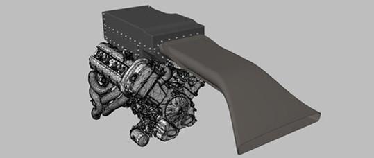 Konstruktion der Airbox für den 3 l und 4, 3 l Motor. Foto 3D FlOWTEC GmbH
