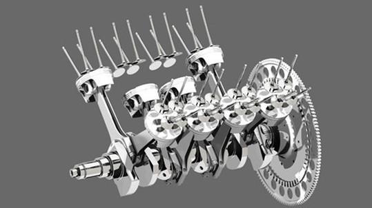 Das Herz des 3 l Motors, Kurbelwelle mit Pleuel und Kolben. Foto 3D-FLOWTEC GmbH