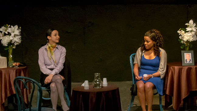 Deborah Mangrum-Price and Arabelle Luke in Gallery Players' production of A REMARKABLE MAN. (Photo by Kim T. Sharp)
