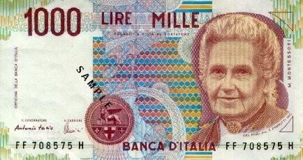 Maria Montessori auf dem 1000 Lire Schein