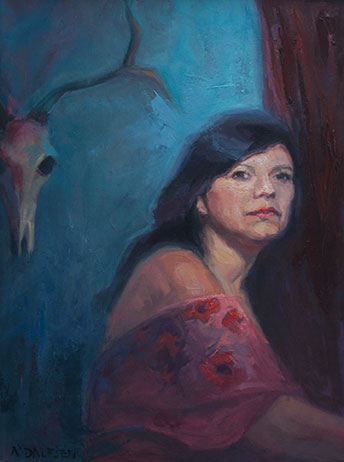 vrouw met schedel, formaat: 80cm x 60cm, olie op linnen