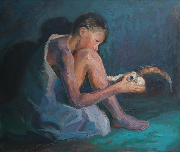zittende jongen, formaat: 110cm x 130cm, olie op linnen