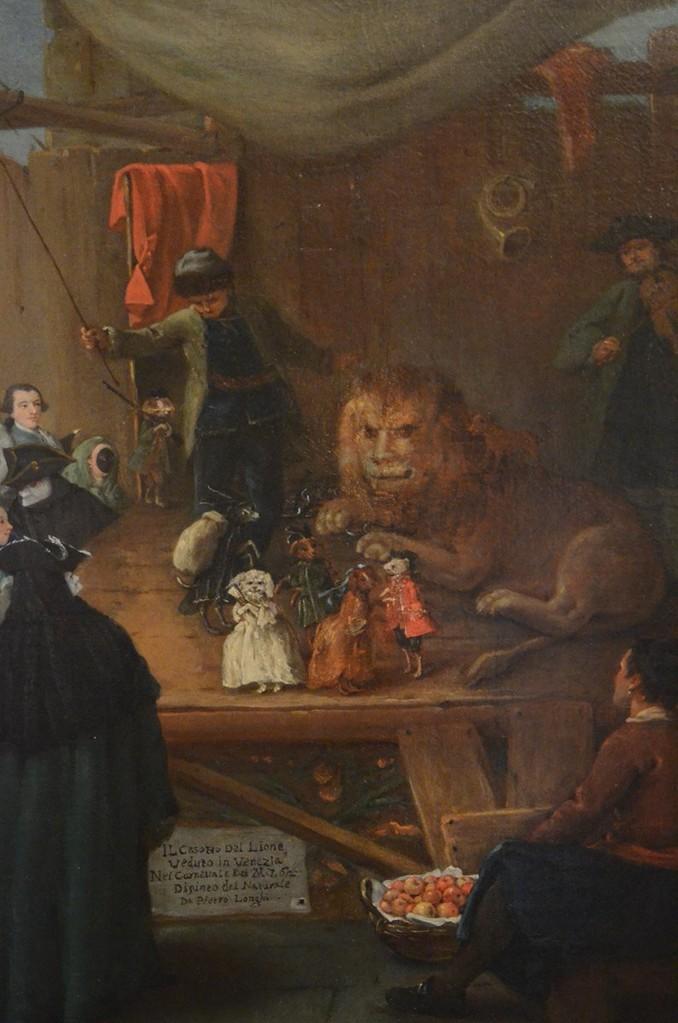 Pietro Longhi (Venedig 1702-1785), Il casotto del lione ('Die Löwenbude'), Pinacoteca Fondazione Querini Stampalia