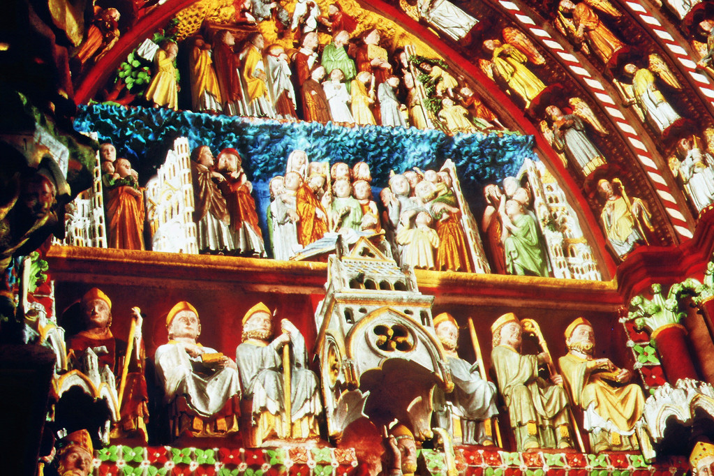 Amiens, Kathedrale, Portal S. Firmin farbrekonstruiert