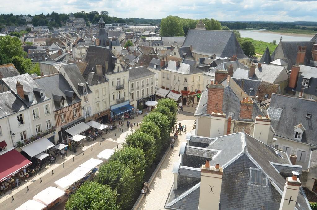 Amboise, Blick vom Schloß auf die Place Michel Debré