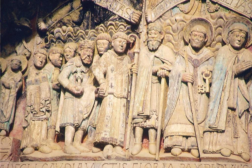 Conques, Sainte-Foy,  Tympanon, Zug der Gerechten (mit Karl dem Großen)