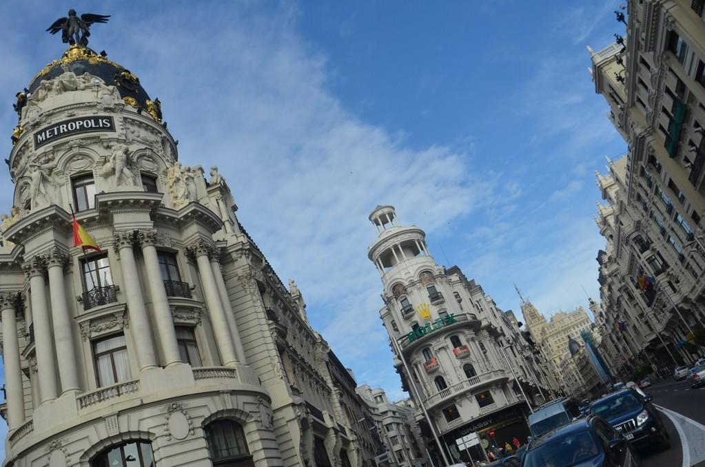 Madrid, Kreuzung Gran Vía und Calle de Alcalá mit Metropolis-Haus (1907-1911)