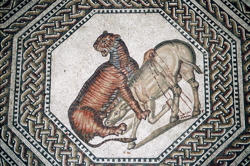 Römische Villa Nennig, Mosaik, Tierhetze
