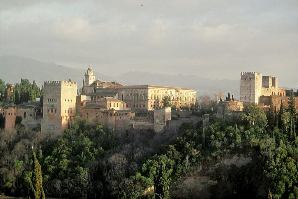 Granada, Blick vom Mirador San Nicolás auf die Alhambra