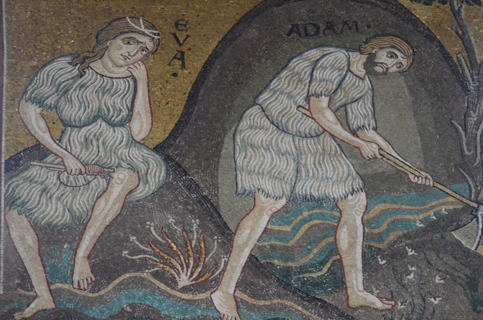 Monreale, Dom, Adam und Eva (Mosaik)