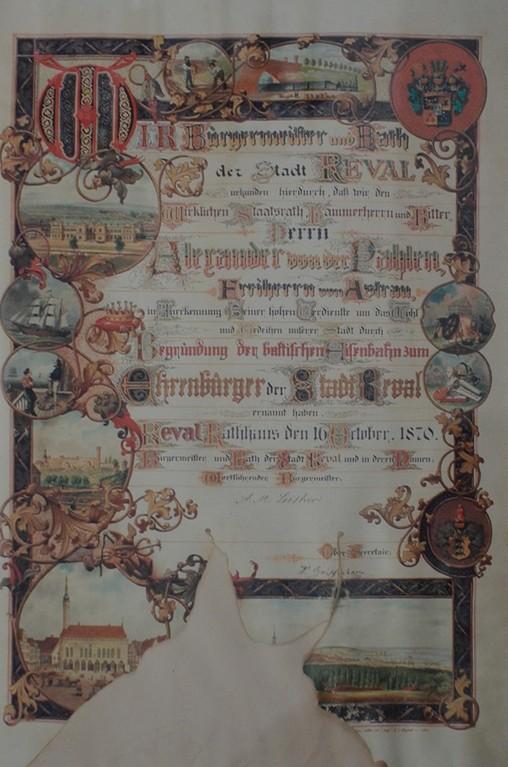 Gutshof Palmse, Ehrenbürgerurkunde der Stadt Reval/Tallinn für Freiherr Alexander von der Pahlen für die Gründung der baltischen Eisenbahn