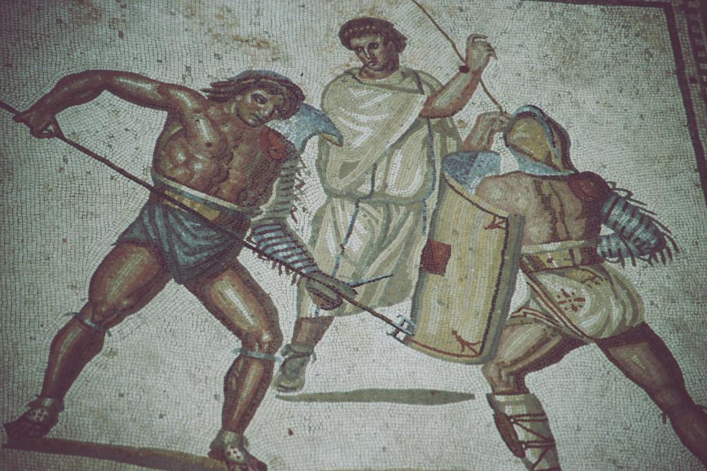 Villa Nennig, Mosaik, Gladiatorenszene