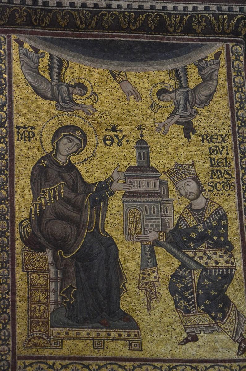Monreale, Dom, Mosaik (König Wilhelm II. stiftet den Dom)
