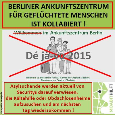 Berliner Ankunftszentrum für Asylsuchende in Wittenau kollabiert