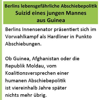 Berlins lebensgefährliche Abschiebepolitik – Suizid eines jungen Mannes aus Guinea