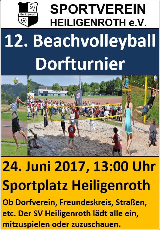 Am 24.06.2017 findet das Beachvolleyball Dorfturnier in Heiligenroth auf dem neuen Sportgelände statt.