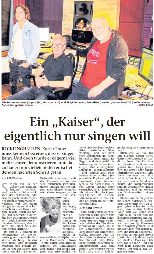 Recklinghäuser Zeitung, 12.12.2018 © Ralf Wiethaup, Fotos: Antje Bemm, Frank Jurisch