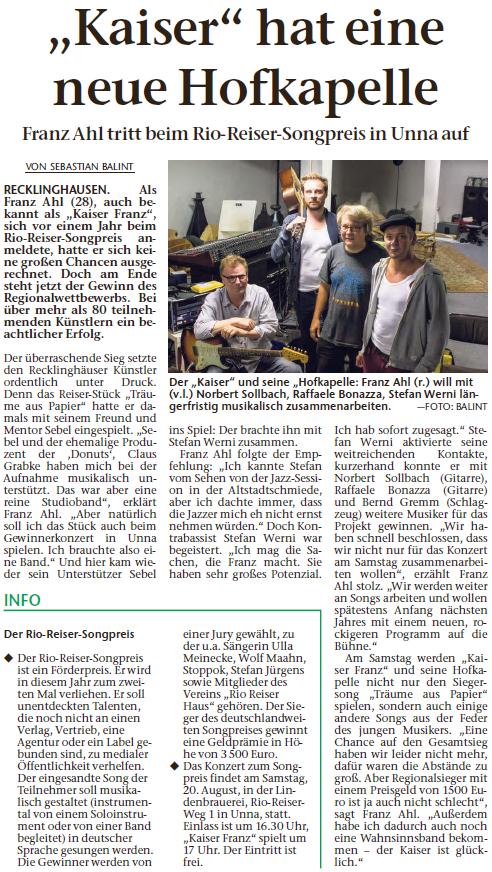 Recklinghäuser Zeitung, 15.08.2016 © Sebastian Balint