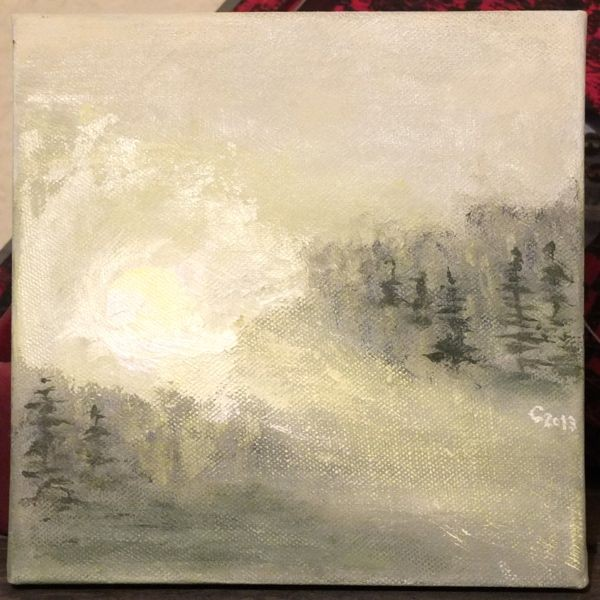 'Sonnenaufgang im Nebel' 20 x 20 cm Acyl