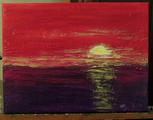 'Sonnenuntergang'  -verschenkt- 40 x 30 cm Acryl