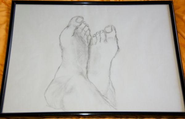 """'meine Füße' hat den Umzug nicht überlebt """"smile""""-Emoticon 40 x 30 cm Bleistift"""