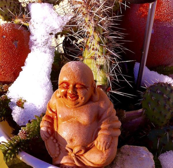der Buddha lässt sich die Sonne auf den Bauch scheinen