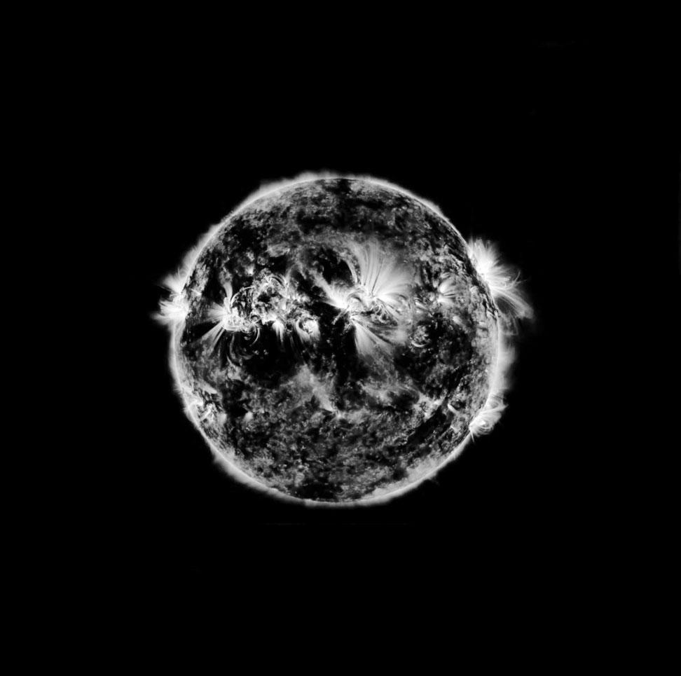 Invers solar, digiographie sur inox poli or miroir