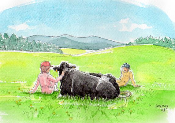 霊視結果イラスト:アニマルコミュニケーションで視えた「乳牛さんの願い」