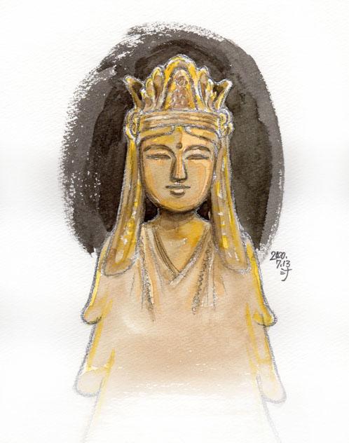「夢」スケッチ:2018年のお盆にも見た、飛鳥〜奈良時代の仏像に似ているもの