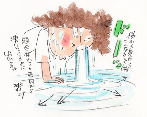 夢スケッチ:第3の目から大量の水が流れ出す!横から見たw
