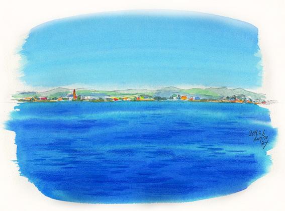 「夢」スケッチ:ナゼか?スペインあたりの海と街。私は海の上にフツーに立ってる。