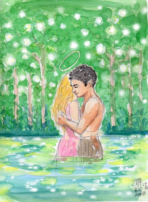 夢スケッチ:光り輝く森と泉の中でハグ!