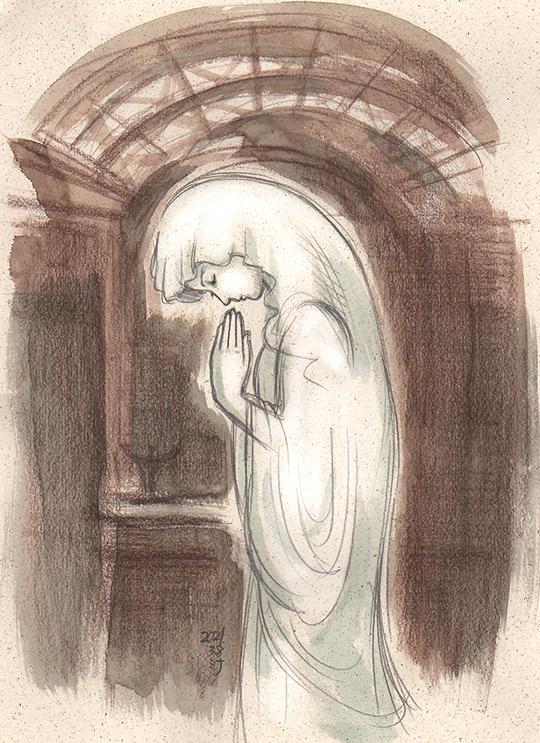 「夢」スケッチ:長崎の教会のマリア像 〜祈る気持ちが大きくて猫背になる感じ〜