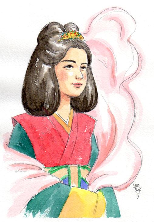 「夢」スケッチ:これまた奈良時代の女性がご登場!ショールの左側だけヒラヒラ舞い上がっていた
