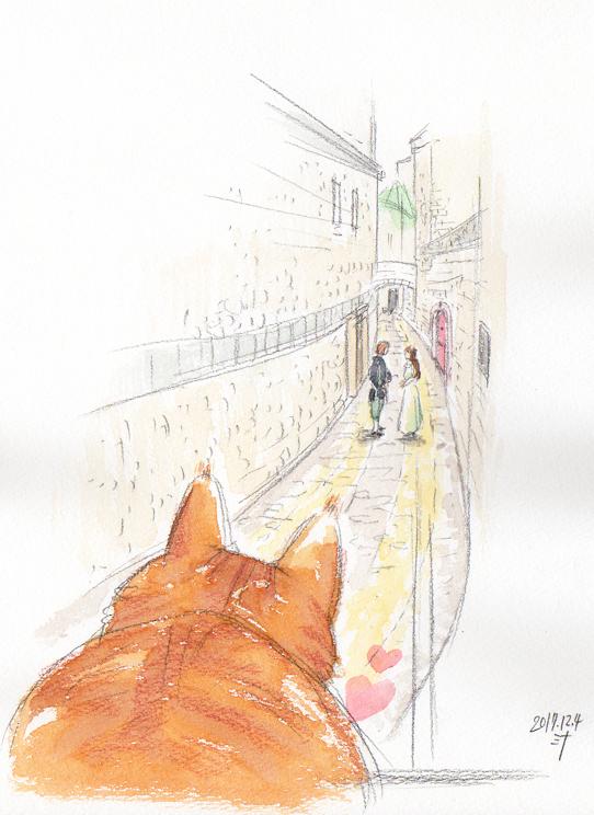 霊視結果イラスト:ペットさんと飼い主さんの「前世」での出会い