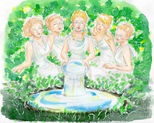 夢スケッチ:5人の女神が泉に水を注ぐ