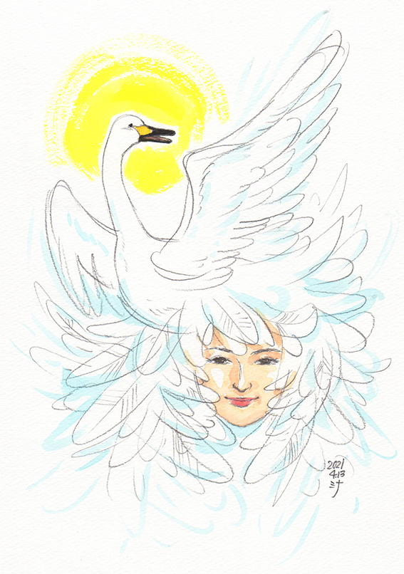 霊視結果イラスト:白鳥の守護霊さま