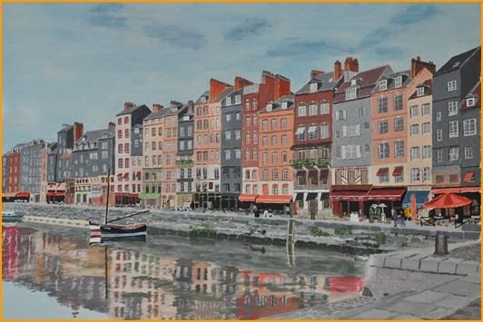 """Gérard PETRENKO """"Le vieux bassin d'Honfleur""""   acrylique 73 x 54  acrylique"""