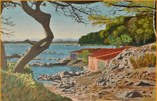 """Gérard PETRENKO """"Une plage à Brégançon""""   acrylique 92 x 60  acrylique"""
