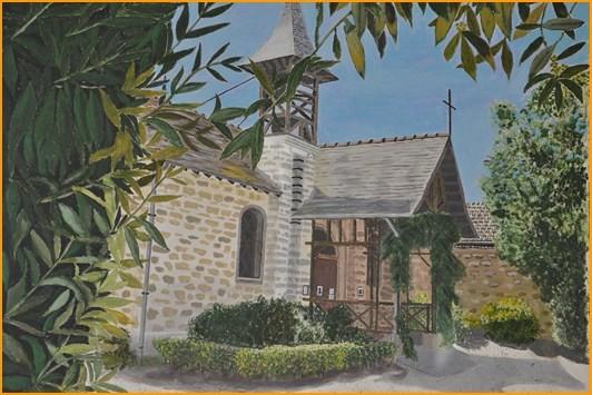 """Gérard PETRENKO """"La petite chapelle de Barbizon""""   acrylique 73 x 60  acrylique"""